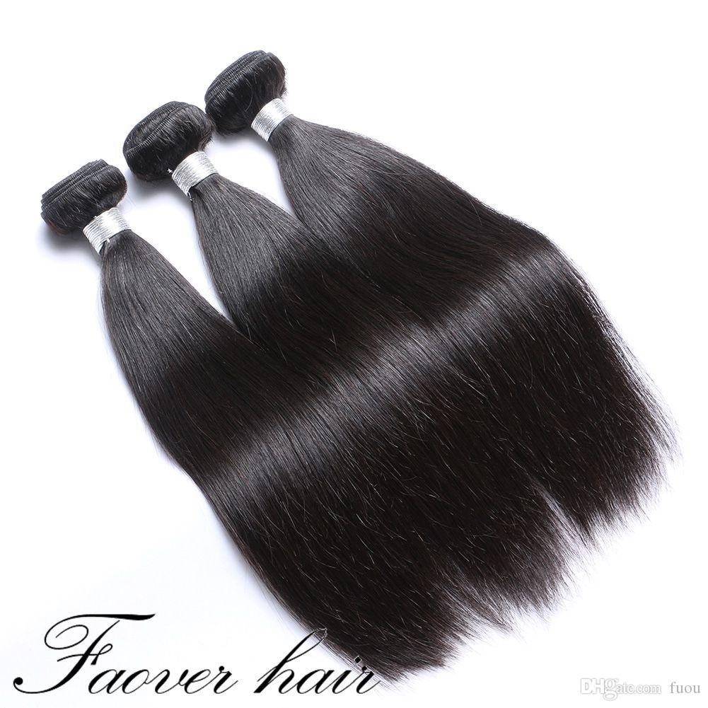 100% DESPROCESADO Extensiones de cabello humano recto natural sedoso de la trama del pelo humano de la trama virginal del pelo 6pcs 3pcs por el envío libre