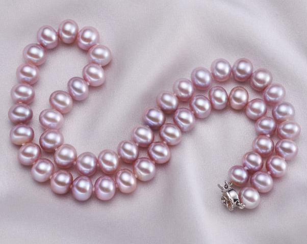 Collana di perle viola naturali da 10-11mm con chiusura in argento 925 da 19 pollici