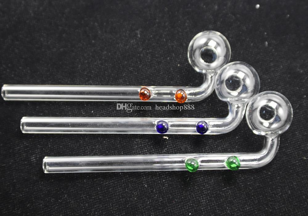 Curvada de vidro de óleo queimadores tubulação tubulações vidro erva seca cachimbos de água de vidro com diferentes Colorido Balancer Cachimbo mão fumar