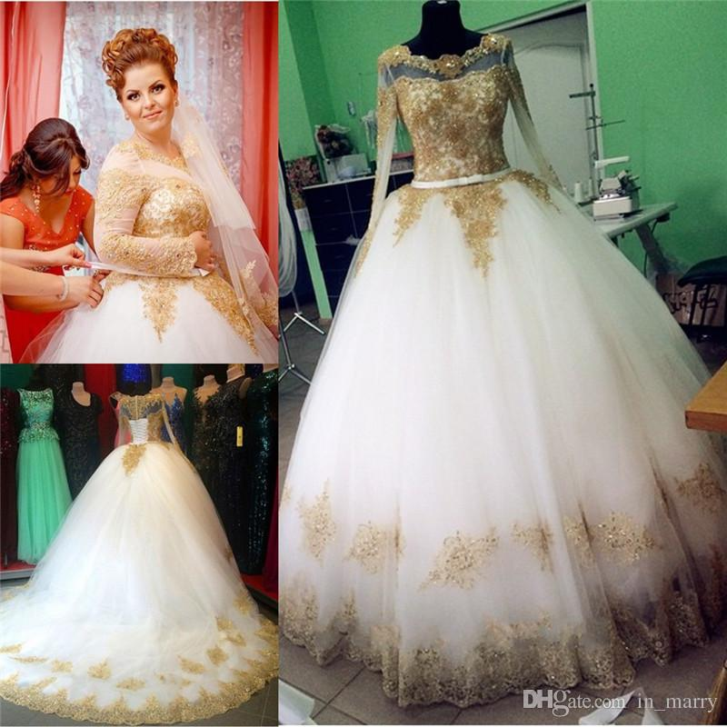 Real Images Gold Lace Appliques Wedding Dresses 2016 Ball Gowns Long ...