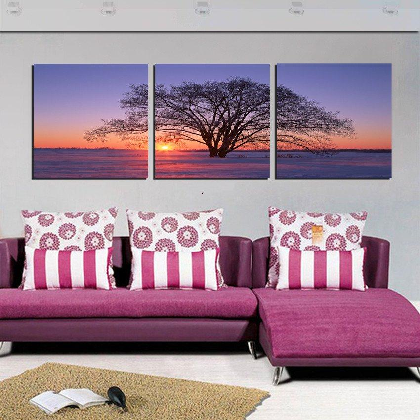 unframed 3 Pieces picture free shipping Home decoration Canvas Prints tree winter snow scene Sunflower fish chinese characters Lotus leaf