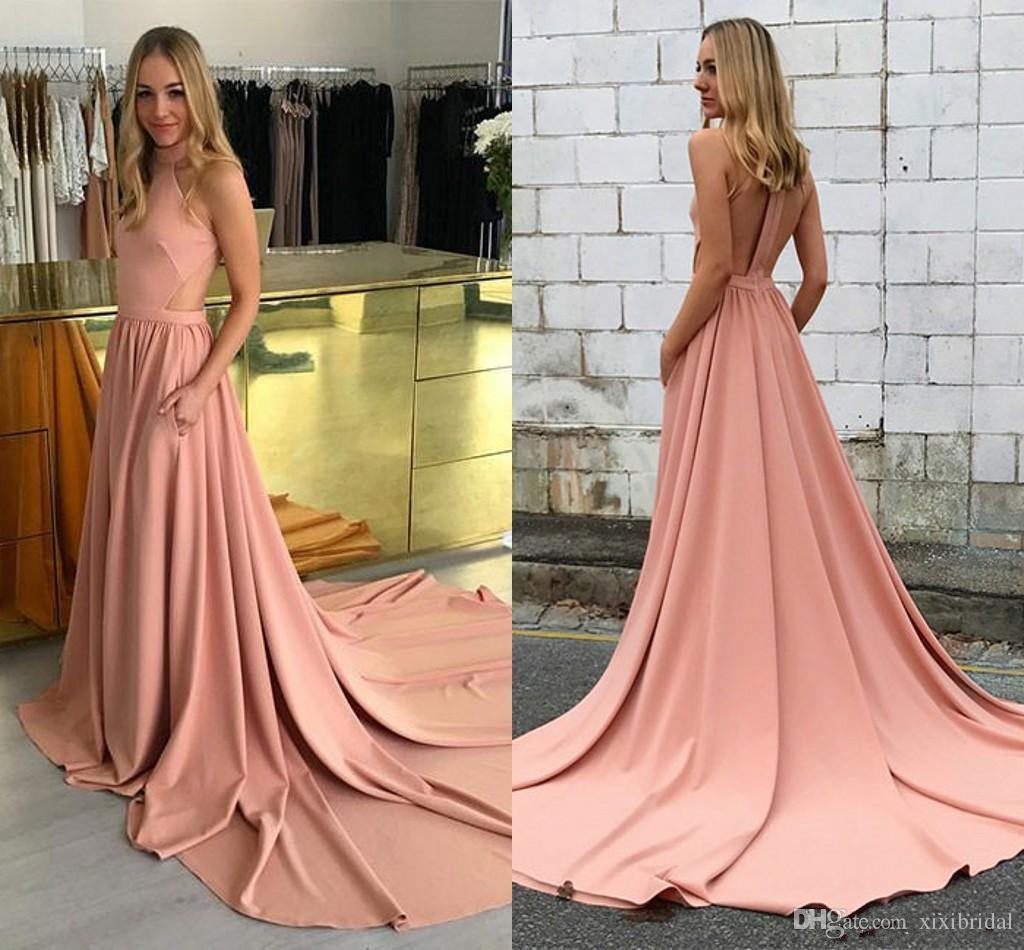 32aab5a1b75e 2018 Simple Pink Dresses Evening Wear Cut Away Side Sweep Trian Halter Sexy  Back A-line Stain Formal Prom Dress