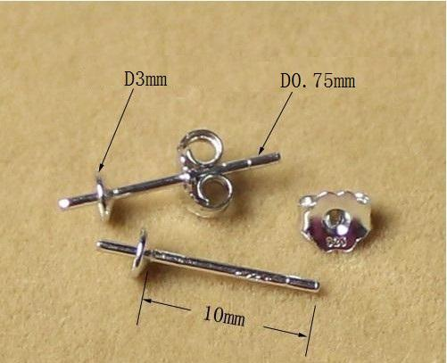 925 sterling silver jewelry Stud Earring Round Post Ear Stud Bowl Base Findings 10mm Silver Tone 10 pairs/package