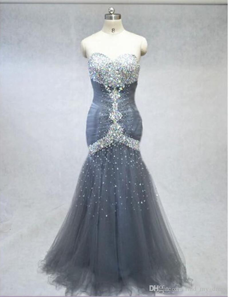 2019 novo design de luxo sereia cinza vestido de noite querida strass tulle até o chão vestidos de festa tamanho personalizado