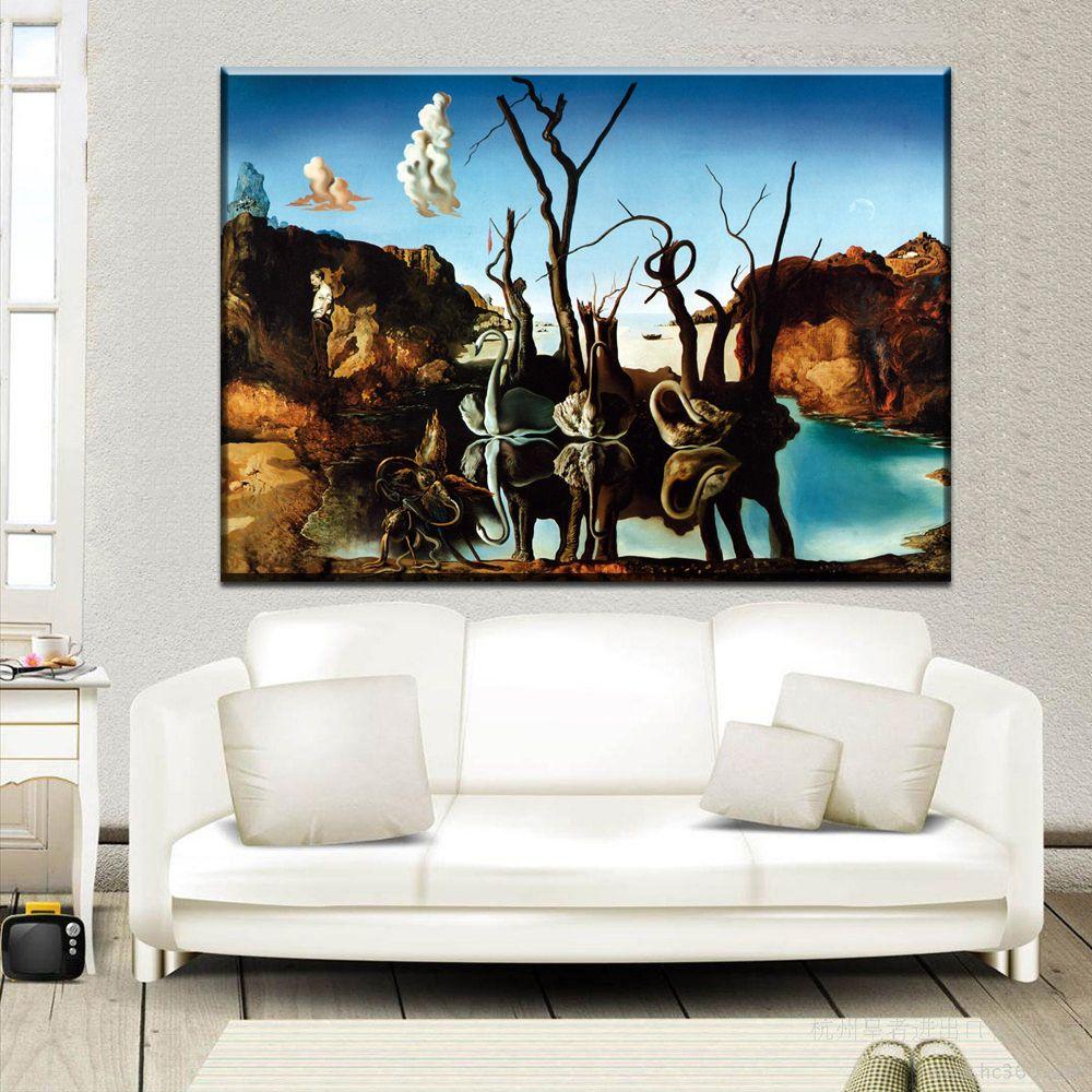 ZZ2055 Salvador Dali Fantasy Skull War Clocks Surreal Classic Art Painting canvas prints art for livingroom bedroom decoration unframed
