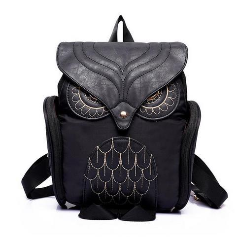 Fashion Women Backpack Newest Stylish Cool Black PU Leather Owl Backpack  Female Hot Sale Women Shoulder Bag School Bags School Backpacks Cool ...