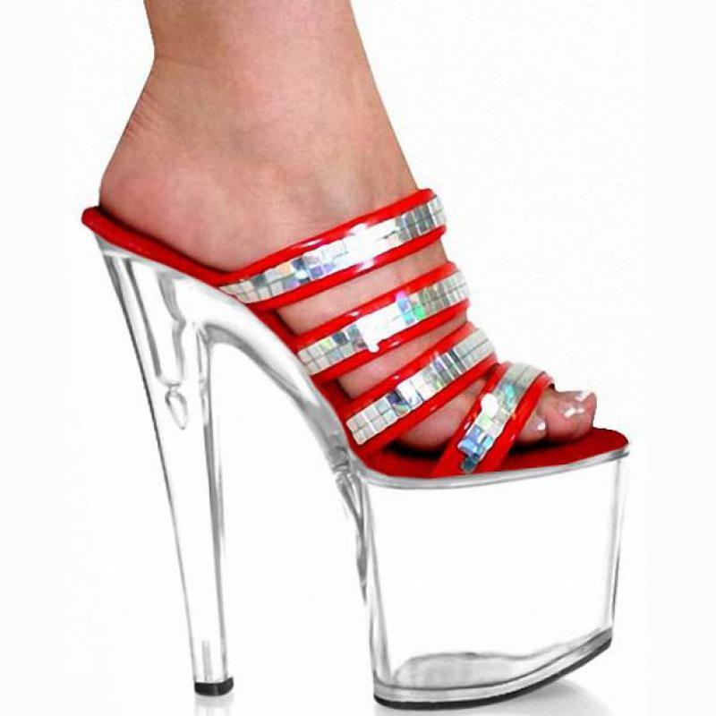 Fertigen Sie Verkaufs-ultra hohe Ferse 20cm reizvolle-absatz-Schuh-Absatz-Sandelholz-Modell-Schuh-Art- und Weiseplattform-Pantoffel-Sommer-Schuhe D0205 besonders an