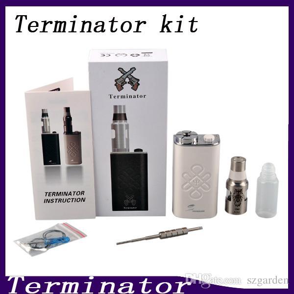 Terminator Box Mod Starter Kit Terminator Mods Bottom Feeder 18650 Battery 510 Thread Firing Button Vs Lucifer Box Mod Kbox 120W 0211199