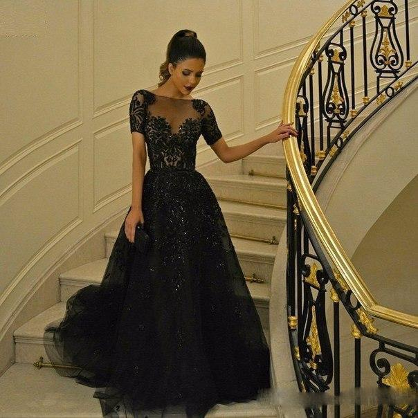 Short Sleeves Black Elie Saab Prom Dresses Sparkly Beaded Rhinestones Full Length Ruched Tulle Dresses Evening Wear Lace Appliqued Vestideos