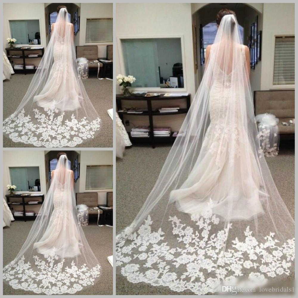 2019 Best Selling Cheapest In Stock Long Chapel Length Bridal Veil Appliques Long Wedding Veil Lace applique with Comb