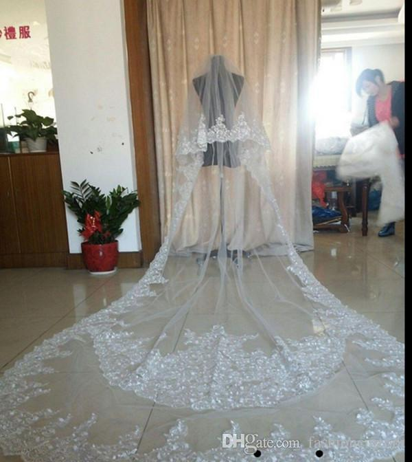 Best Selling Luxury Real Image Wedding Veils Three Meters Long Veils Lace Applique Crystals Two Layers Cathedral Length Cheap Bridal Veil 2T