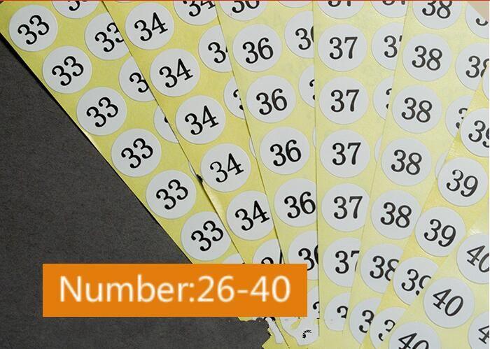 Número 26/27/28/29/30/31/32/33/34/36/37/38/39/40 de ropa de etiqueta engomada adhesiva diamaters etiqueta de tamaño 1.3cm