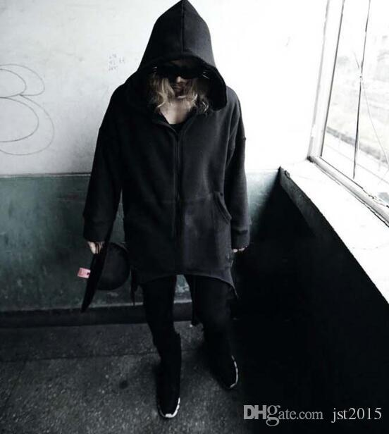 Fall-Men's Top Fashion Metal Button Black Long Hooded Cloak Coat Stylish Gothic Trench Overcoat Hot-selling Winter Yuppie Cape Poncho