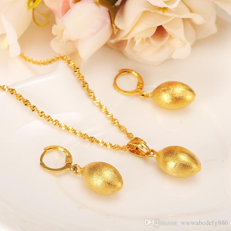 Яйцо овальное ожерелье из бисера кулон пуля серьги комплект ювелирных изделий ну вечеринку подарок 14 К желтый из чистого золота GF Африка шар женская мода