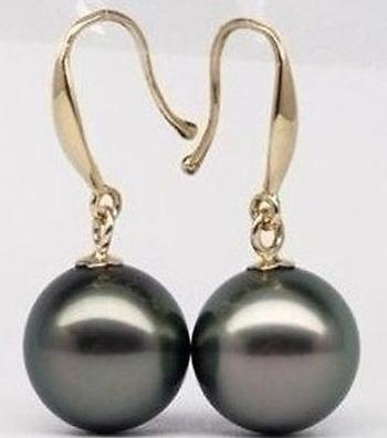 Elegant 10-11mm natural tahitian peacock green pearl earrings 14k gold