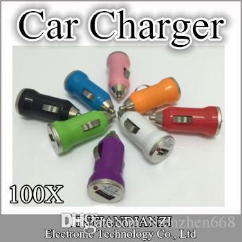 SH에 대 한 Iphone7 USB 차 충전기 다채로운 총알 미니 차 충전기 Iphone 5 5S DHL에 대 한 휴대용 충전기 범용 어댑터 무료 배송 B-CL
