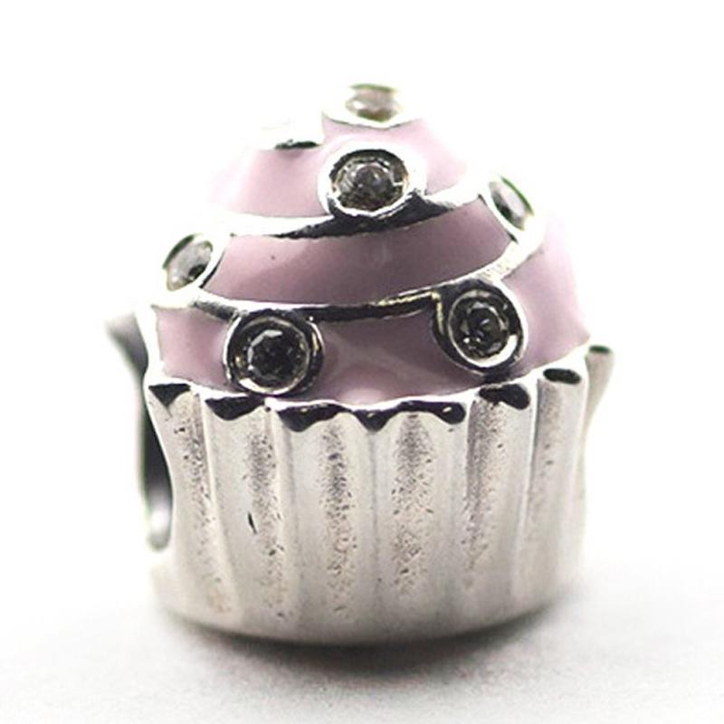 Sweet Cupcake, Light Pink Enamel Clear CZ 100% 925 Sterling Silver Perles Fit Pandora Bracelet Bracelet Bijoux de mode DIY authentiques
