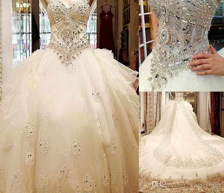 Bling Bling Luxury Crystal Cathedral Train Ball Gown Wedding Dresses with Strapless Sweetheart Lace Applique Tulle Long Bridal Gowns 2019