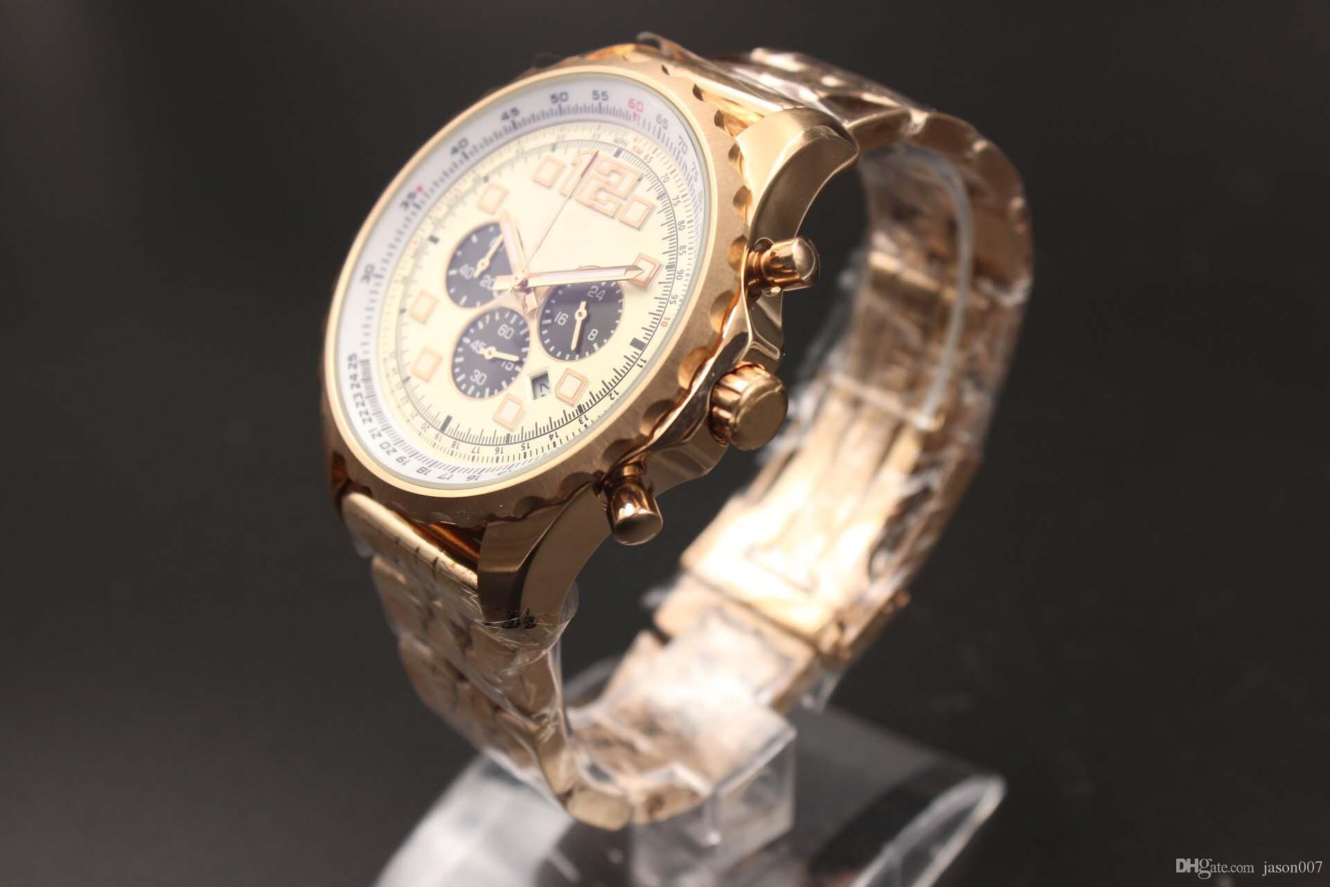 Desconto Venda de Quartzo-relógio Men Brand Fluted Caso Ouro Skeleton Dial Branco Rose Gold Band Cronômetro Analógico Calendário Digital Assista