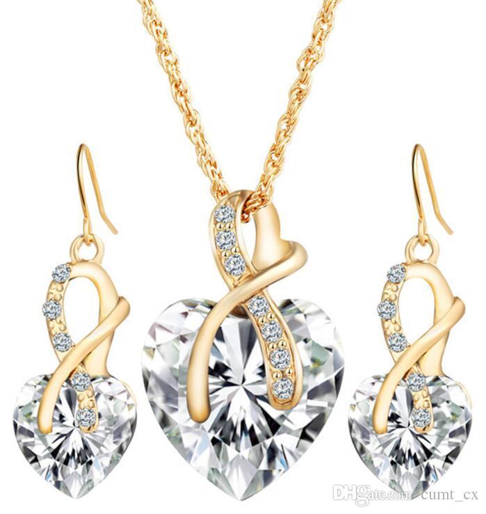 Conjuntos de Jóias Conjuntos de Jóias de Coração de Cristal de Cor do ouro Para As Mulheres Colar Brincos Conjunto de Jóias de Noiva Nova Acessórios de Casamento