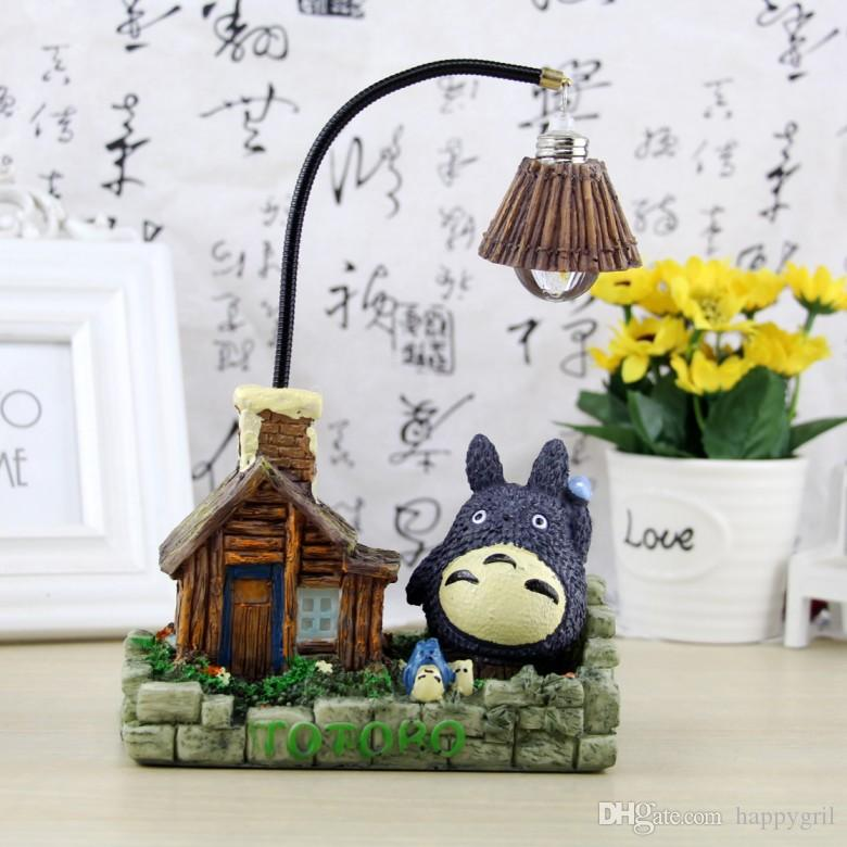 Cartoon Cat Nightlight Resina Lámpara Totoro Casa Modelo Lámpara de Mesa adornos Creativos Decoración para el hogar luminaria de mesa Lámpara de Escritorio