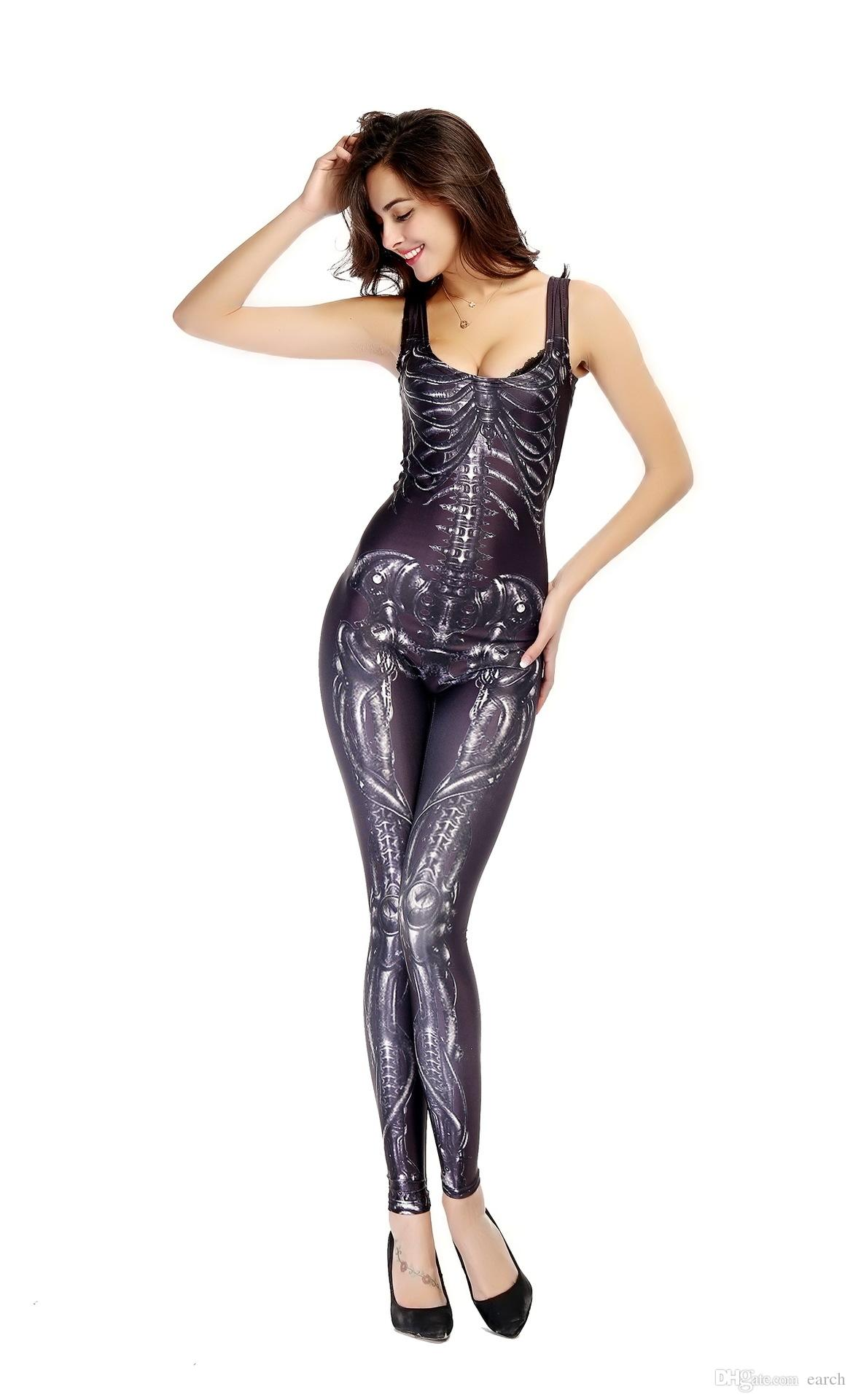 New Halloween Costume jumpsuit Catsuit Costumes human skeleton print outfit locomotive suit cosplay Sexy costumes for ...  sc 1 st  DHgate.com & 2018 New Halloween Costume Jumpsuit Catsuit Costumes Human Skeleton ...