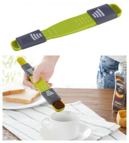 Nouvel outil de cuisson pour la cuisine Échelle réglable Cuillères à mesurer À huit têtes à double tête Quantitative Spoon 50 PCS / Lot