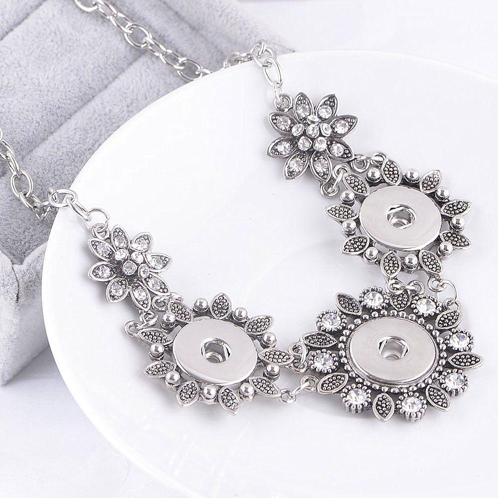 Горячая новый женская мода горный хрусталь Оснастки кнопка Шарм кусок имбирь сменные ювелирные изделия цветы цепи ожерелье новое прибытие