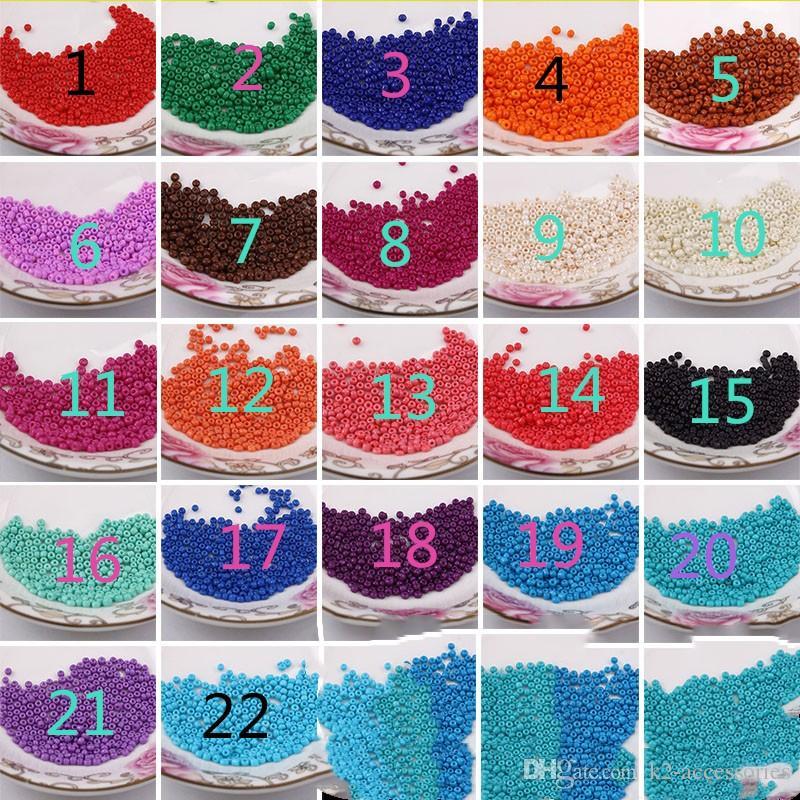 1600x 2mm perles solides En Verre De Semence Spacer perles Fabrication De Bijoux DIY 22 Couleur Livraison gratuite