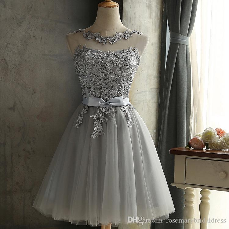 more photos discount attractive price Cheap Silver Lace Party Dresses Short Jewel Lace Up Cocktail Gowns Short  Prom Dresses Maid Of Honor Gowns Under 50 Real Photo Formal Dresses For ...