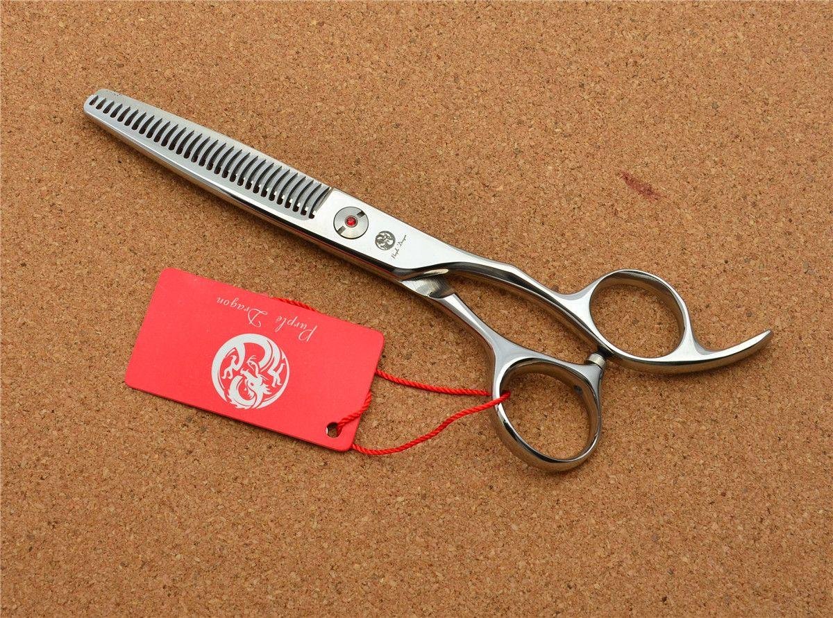"522 # 6.0 '' Brand Purple Dragon Professional Forbici da parrucchiere JP 440C Barber's ""W"" Shape Teeth Thinning Scissors Hair Shears"