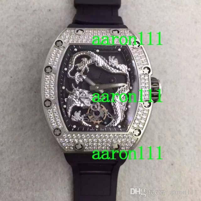 Luxo Diamante Bezel RM057 Dragão Mens Mecânica Atacado Movimento Automático Relógios De Borracha Buckle Sapphire Homens Pulso de Pulso GIF