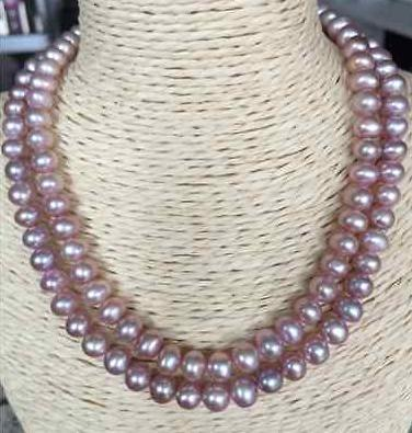 """Elegante collana a perle rotonde con perle di lavanda del mare del sud 7-8mm 18 """"19"""" fermaglio in oro 14k"""