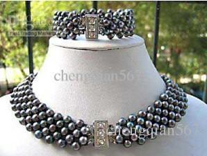 Новые ювелирные изделия черный реальный жемчужное ожерелье браслет