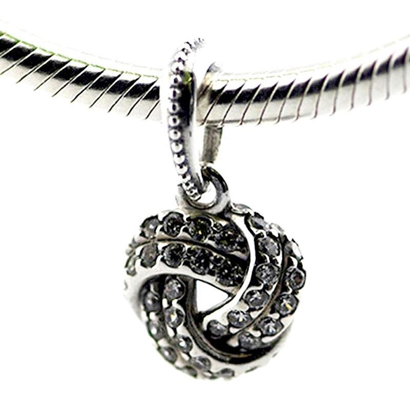 Sparkling Love Knot, Clear CZ 100% 925 Sterling Silver Beads Fit Pandora Charms Bracelet Authentic DIY Fashion Jewelry