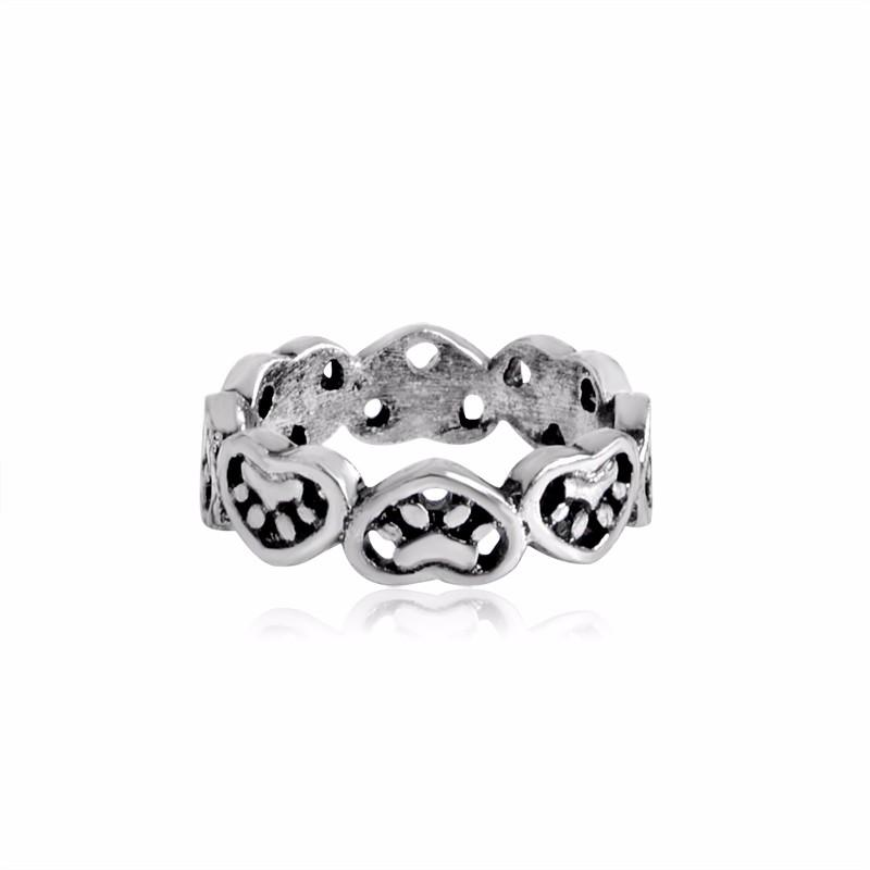 Hollow Hearts & Paws Ring for Dog Parents Cute Puppy Kitty Cat Ring Simple Minimalist Pet Animal Jewelry anel
