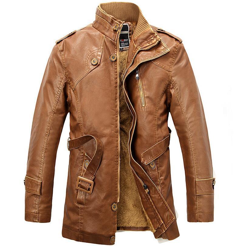 Venta al por mayor- Soporte Collar Couro1 Trench Jacket Jaqueta Hombres Abrigos de cuero Cuero de los hombres Chaquetas de Motocycle Sobrecoat Parka PU Wool de Long Gqljl