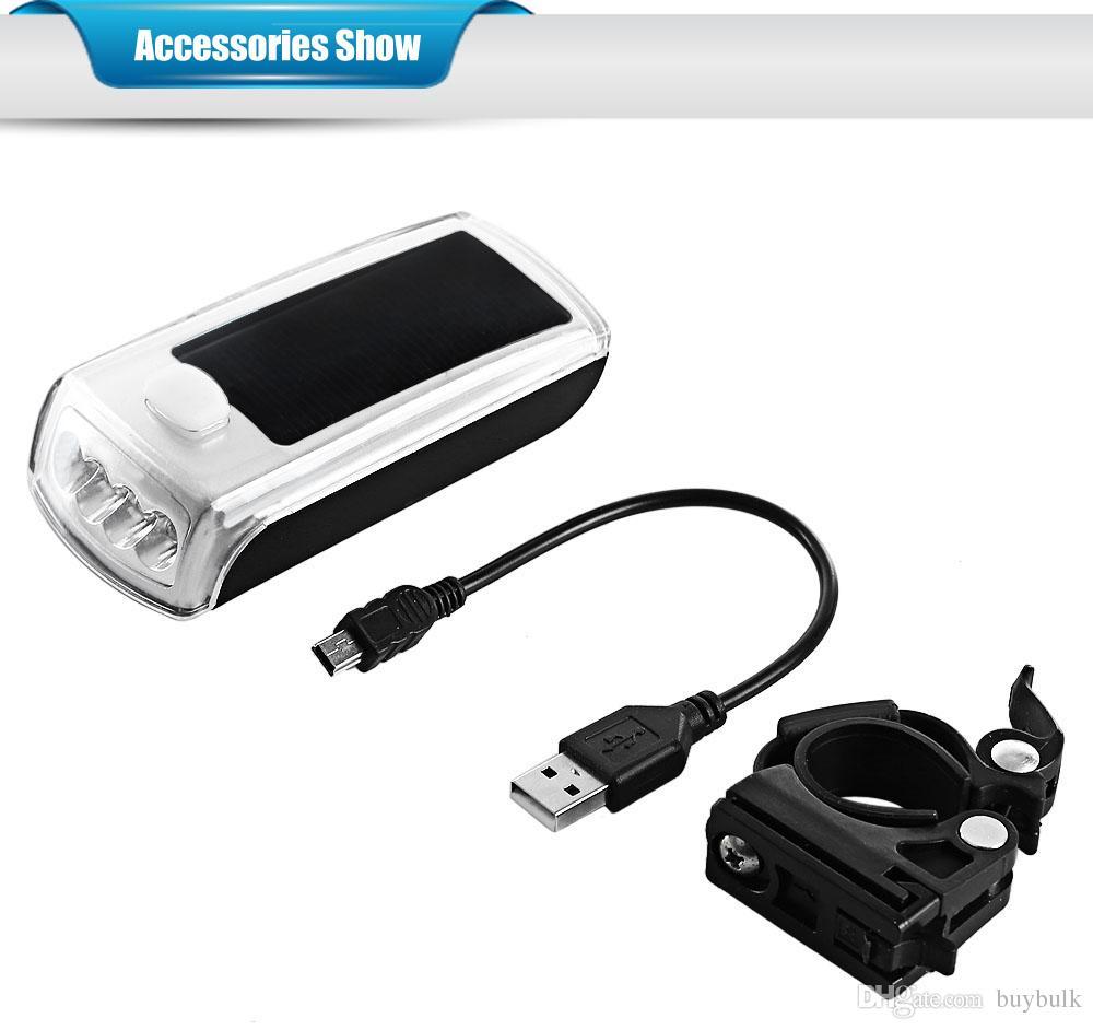 4-LED للطاقة الشمسية الدراجة رئيس ضوء الشعلة مصباح المعدات في الهواء الطلق الجبهة ري المقود دراجة ضوء دراجة الملحقات