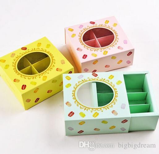 La nuova scatola di carta della torta di Macaron di 12 * 11 * 5.2cm con i biscotti di finestra che imballano la scatola 3 colora il trasporto 100pcs / lot