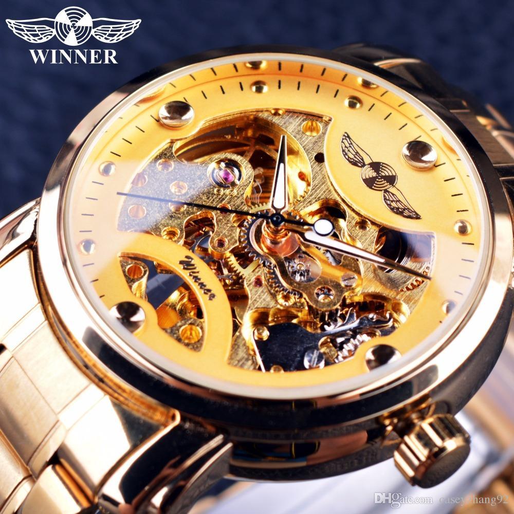 Winner 2019 Classic Design trasparente Mens Watch Top Brand di lusso automatico scheletro maschile orologio da polso Orologio da uomo d'oro