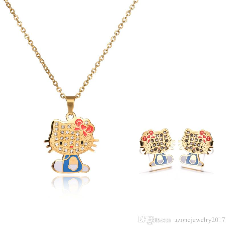 4bbdf99c3 ... Hot Sale Fashion Hello Kitty Cat Seris stainless steel kids jewelry set  18K Gold Plated Necklace ...