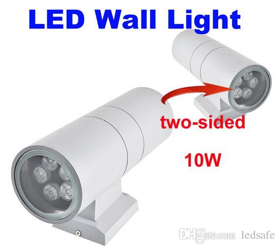 10W Aplique de pared LED Arriba Abajo Bombilla Lamparas AC 110V 220V Jardín al aire libre Iluminación Impermeable IP65 Cilindro Lámpara Porche 10 vatios 10pcs / lot DHL