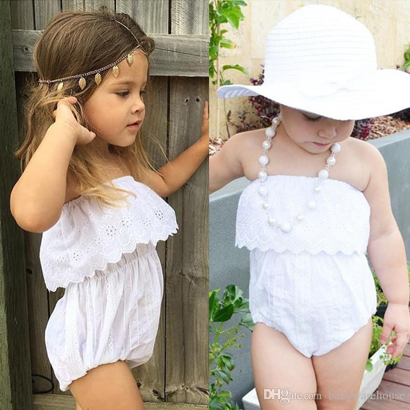 Nweeat Summer Newborn Clothes Baby Girls Clothing White Lace Romper Jumpsuit Solid Infant Clothes Outfit Sunsuit Kids Clothing Baby Onesie