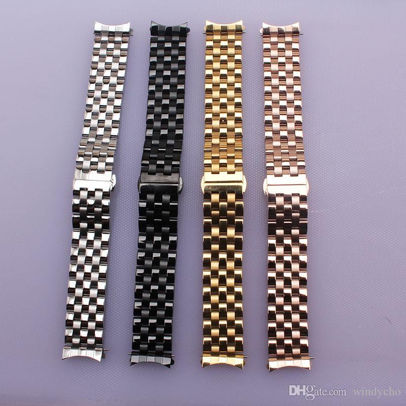 16 mm 18 mm 20 mm 22 mm 22 mm correa de moda correas pulsera hombres señora relojes accesserios Oro Plata Rosegold Negro final curvo envío gratis