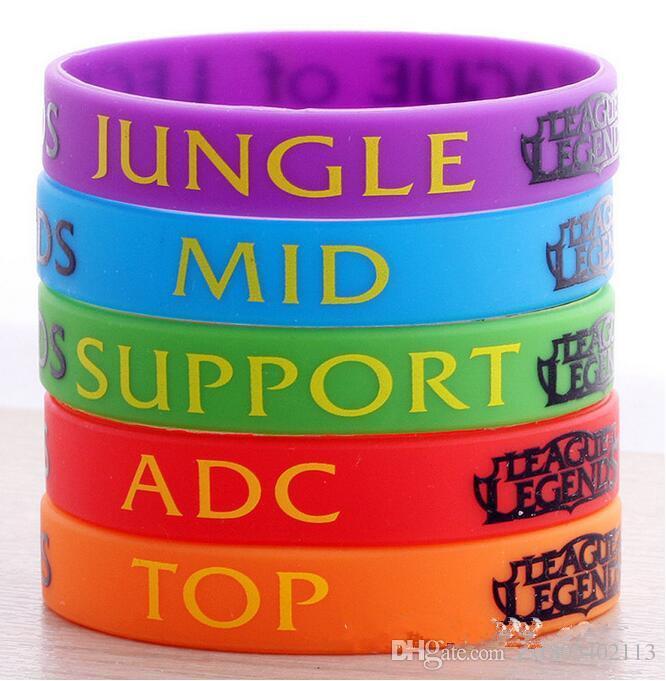 En gros 50pcs / Lot, Nouvelle LOL League of Legend Wristband, Bracelet en Silicone avec ADC, JUNGLE, MID, SUPPORT, Bande Imprimé,