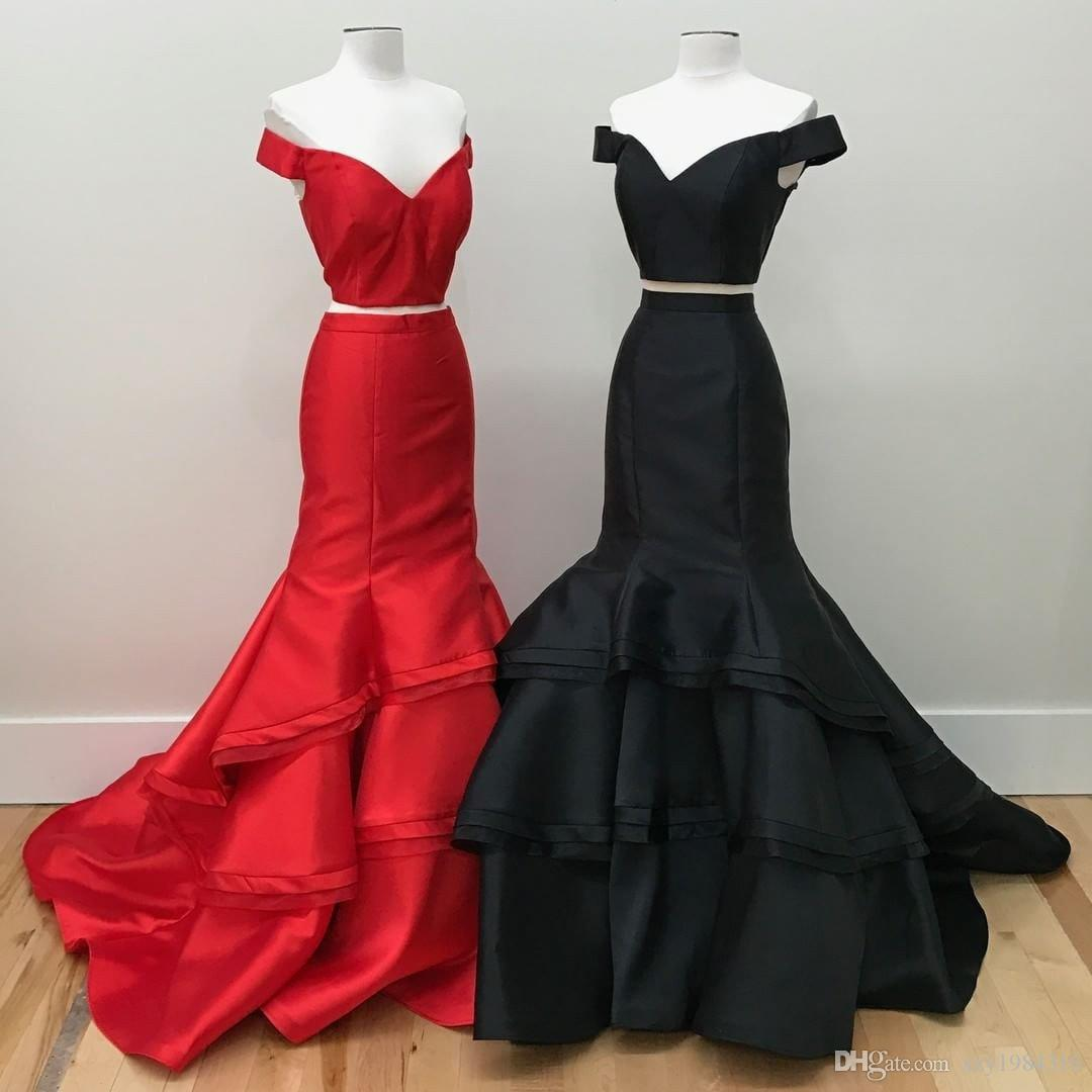New Designer Popular Prom Dresses Two Piece Mermaid Off the Shoulder Sleeveless Evening Dress Tiered Satin Sweep Train Special Occasion Dres