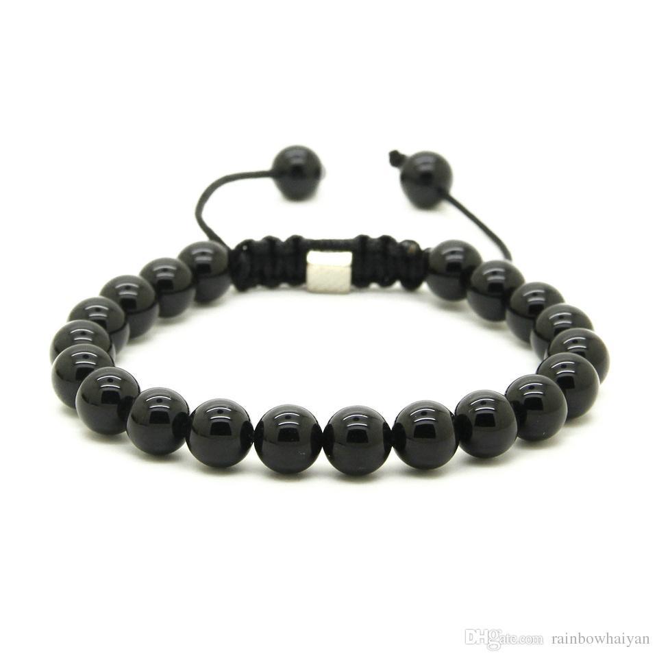 Venta al por mayor 10pcs / lot 8mm Natural Black Onyx, White Howlite Marble Grey Jasper Stone Beads Macrame Lucky Bracelets