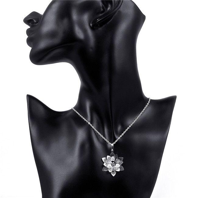 إمرأة جديد لوتس شكل زهرة قلادة قلادة الأحجار الكريمة الأبيض الفضة الاسترليني قلادة مطلي STSN735، حار بيع الأزياء قلادة فضية 925