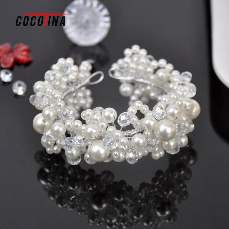 Romantik Gelin Kristal Inci Şapkalar Moda Kadınlar Combs Saç Takı Düğün Gelin Takı Saç Aksesuarları COCOTINA WN0862