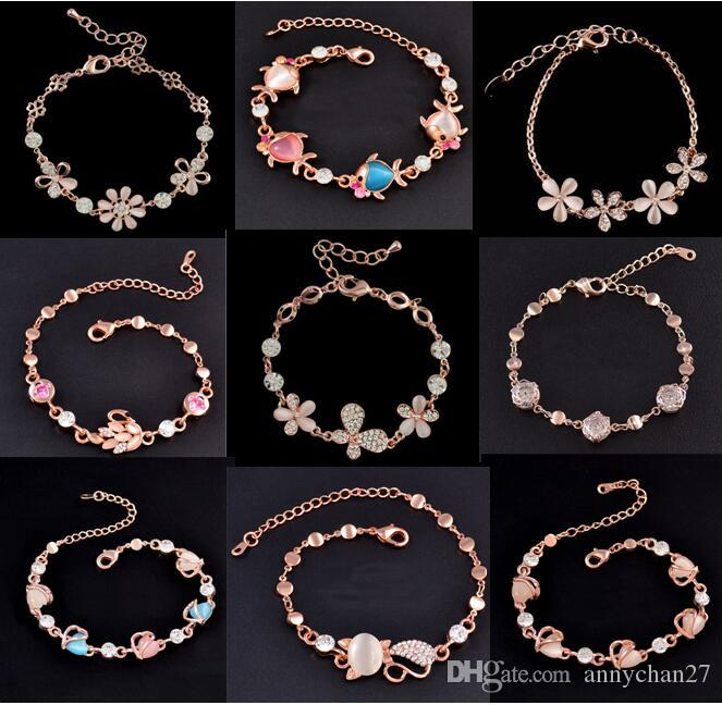 Mix Charm Bracelet Cat Eye Gem stone Luxury Marquise Cut Austrian CZ Crystal Gold Plated Rose Fox Fish Heart Jewelry Fashion Bracelet DHL